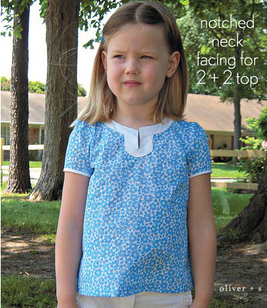 Oliver + S 2 + 2 Blouse with notched neckline facing