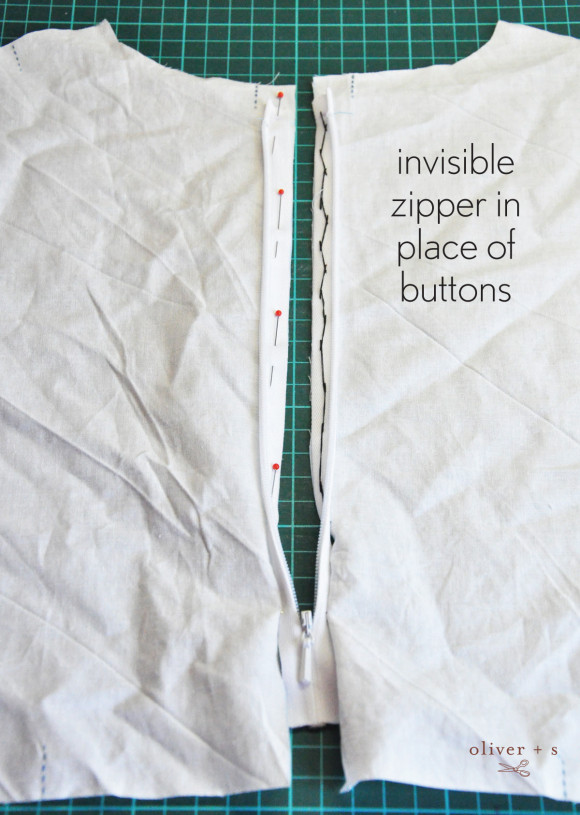 Oliver + S Library Dress with invisible zipper instead of buttons