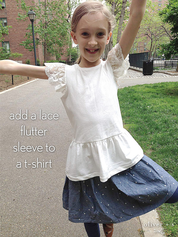 Oliver + S School Bus T-shirt with lace flutter sleeve
