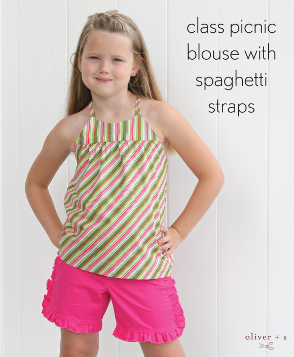 Oliver + S Class Picnic Blouse with spaghetti straps