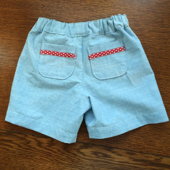 Sunny Day Shorts in Turquoise Dot Aqua Chambray Lisette fabric