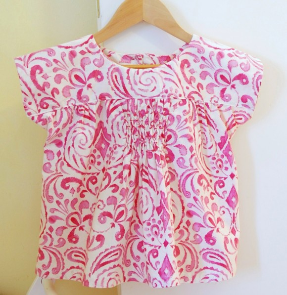 Oliver + S Ice Cream Blouse with honeycomb smocking