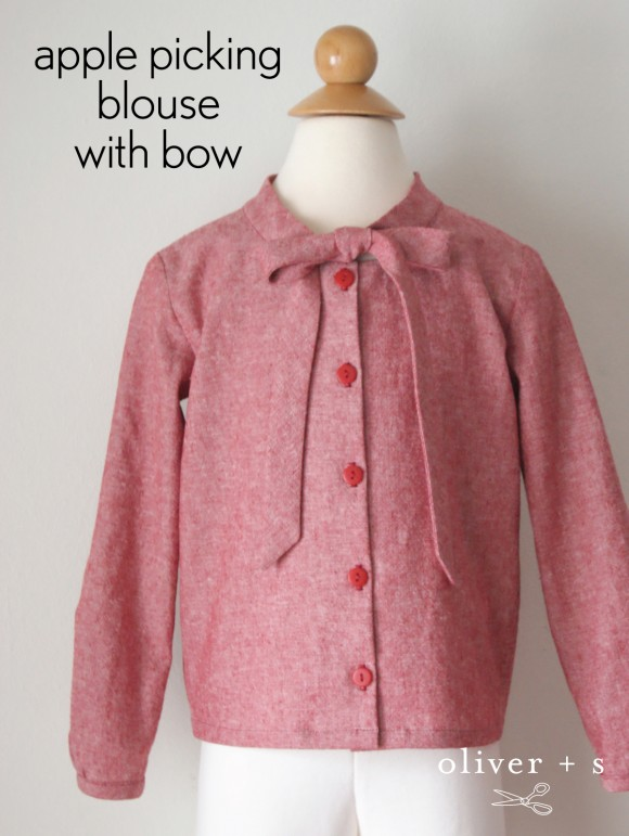 Modifying the Oliver + S Apple-Picking Dress into a bow blouse