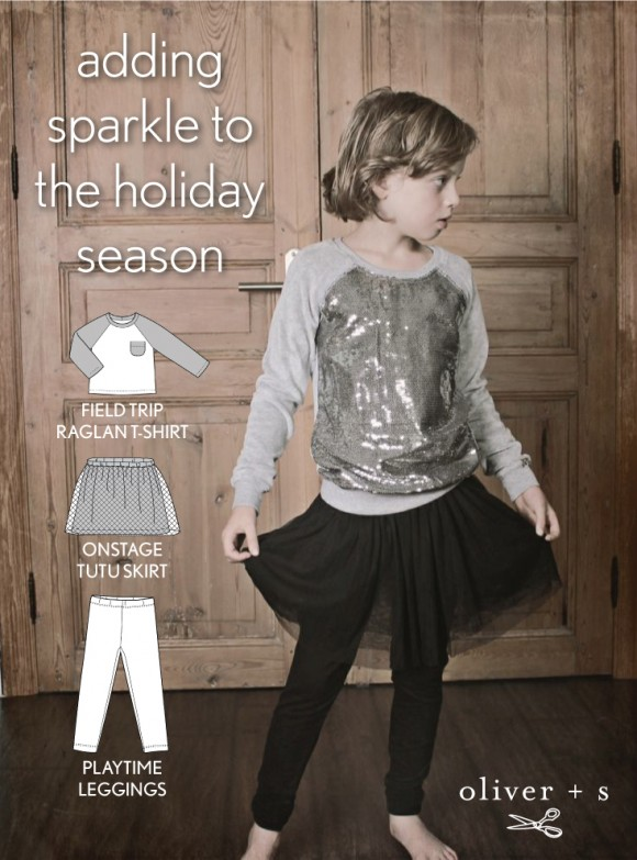 Use the Oliver + S Field Trip Raglan T-shirt, Onstage Tutu Skirt, and Playtime Leggings to recreate the inspirational image