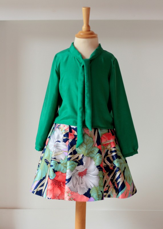 Oliver + S Apple-Picking Bow Blouse in green silk