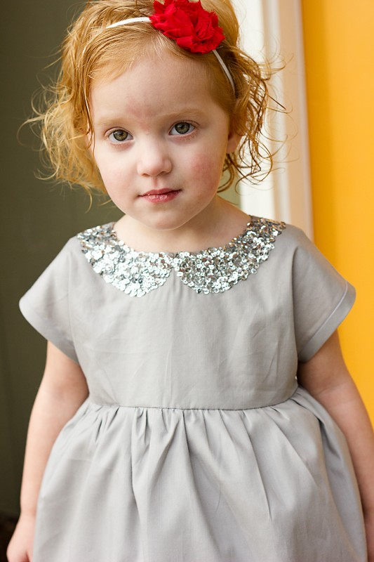 Hand sewn sequins on the fuax collar of the Oliver + S Playtime Dress