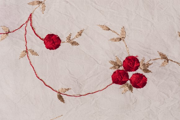 French rose embroidered silk dupioni fabric