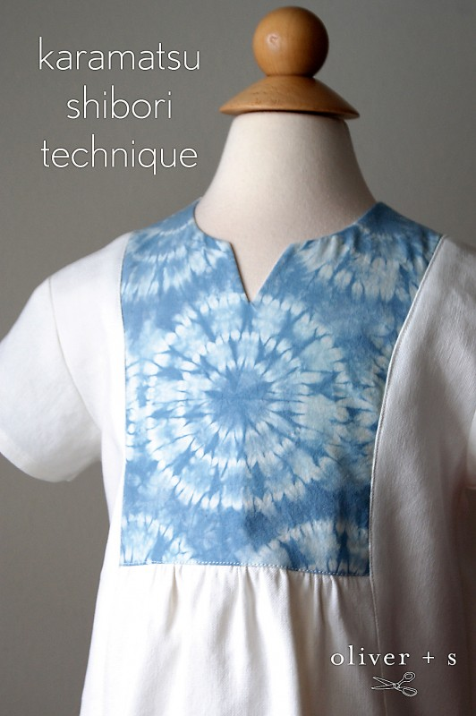 Karamatsu Shibori Technique on the yoke of the Oliver + S Hide-and-Seek Tunic