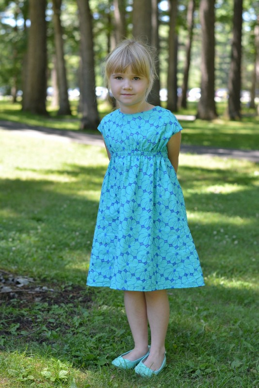 Oliver + S Roller Skate Dress in floral green and blue eyelet Lisette fabric