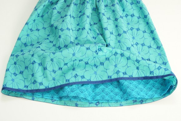 Oliver + S Lazy Days Skirt in floral green and blue eyelet Lisette fabric
