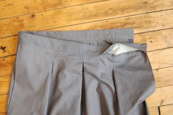 Attaching the waistband on the Liesl + Co Girl Friday Culottes