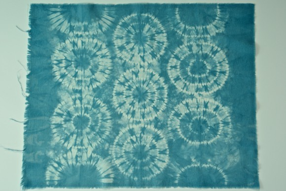 Karamatsu Shibori Technique on muslin fabric dyed with indigo