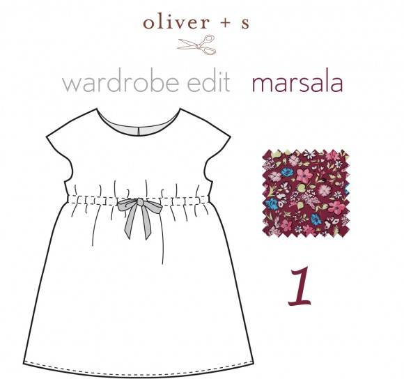 Marsala floral print on the Oliver + S Roller Skate Dress