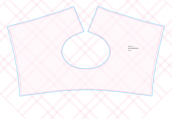 Placement of the Oliver + S Ice Cream Dress yoke on top of the tucked fabric