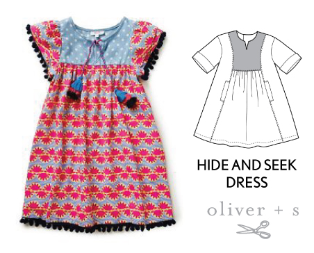 Add some pom pom trim and tassels to the Oliver + S Hide-and-Seek Dress