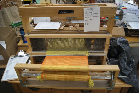 Weaving loom at the world's largest textile garage sale