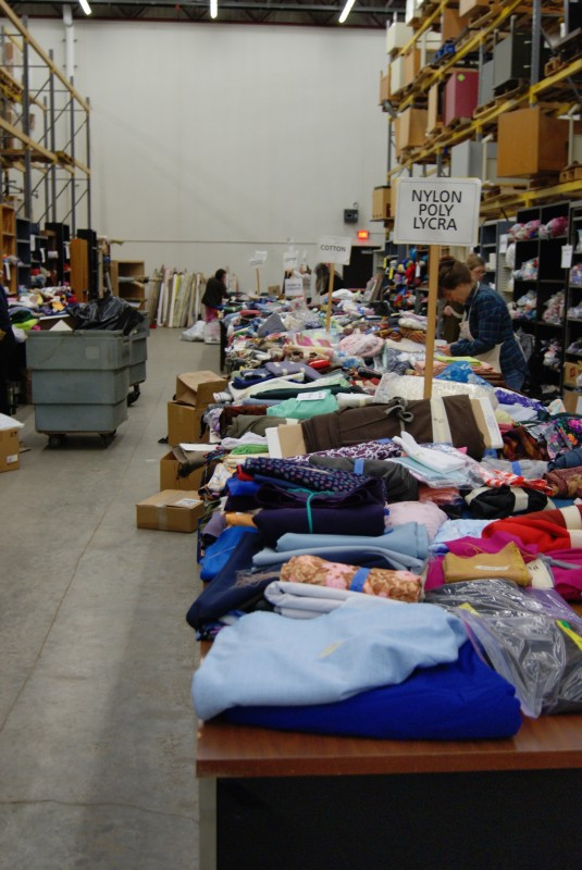 Fabrics at the world's largest textile garage sale