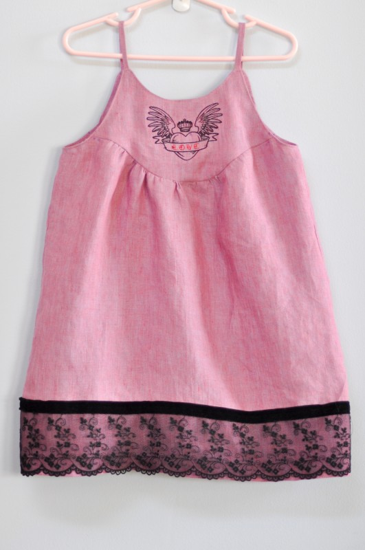 Oliver + S Swingset Tunic with machine embroidered yoke and lace hem