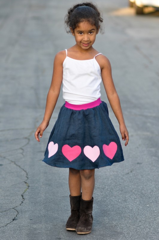 Oliver + S Swingset Skirt with heart applique