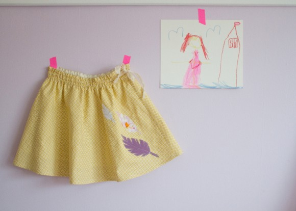 Oliver + S Swingset Skirt with feather applique