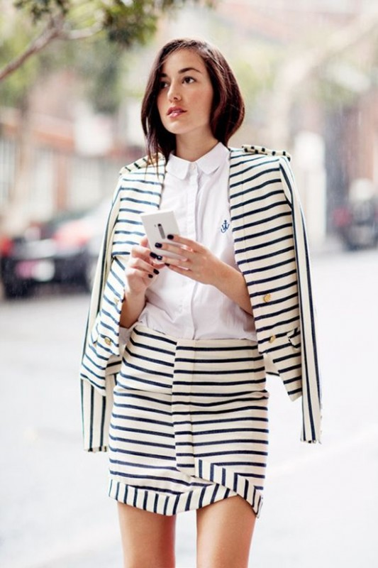 wrap skirt with stripes