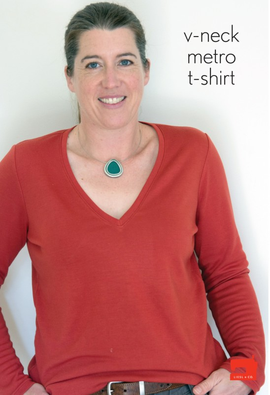 Modify the Liesl + Co. T-shirt into a V-neck