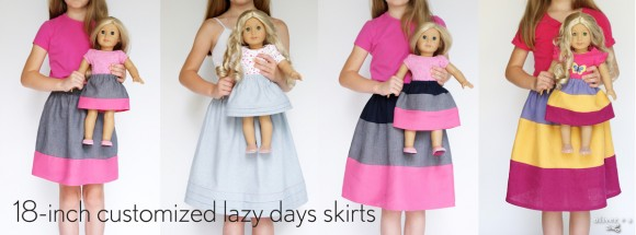 18-inch doll customized Oliver + S Lazy Days Skirts