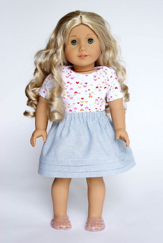 18-inch doll version of the Oliver + S Lazy Days Skirt with hem tucks
