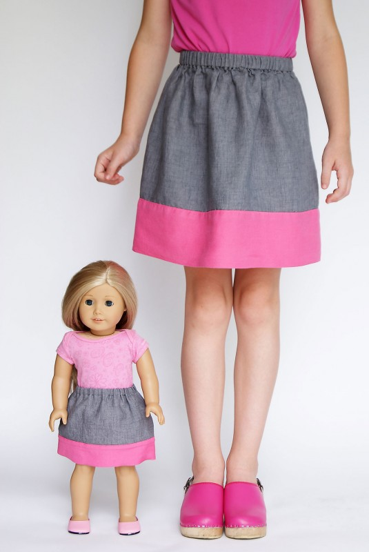 18-inch doll version of the Oliver + S Lazy Days Skirt with double-thickness hem