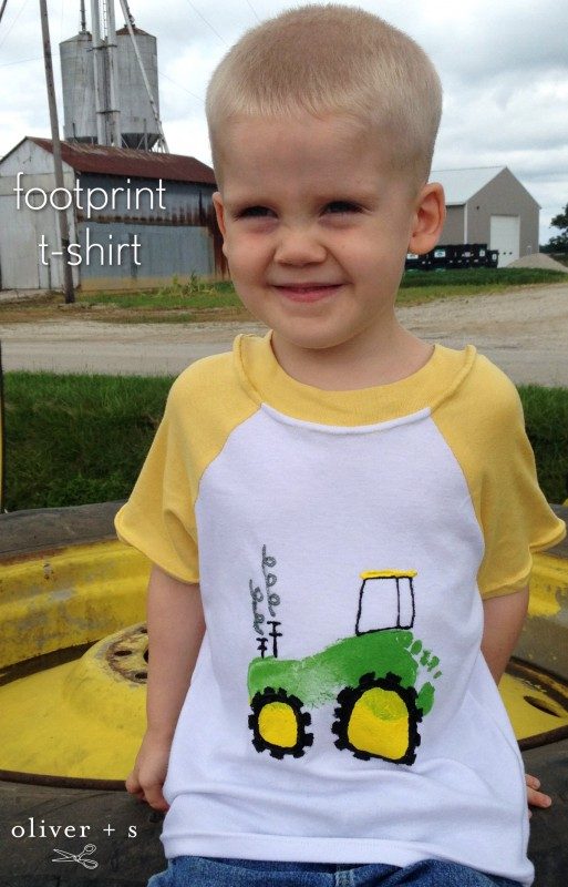 A child's footprint added to the Oliver + S Field Trip Raglan T-shirt