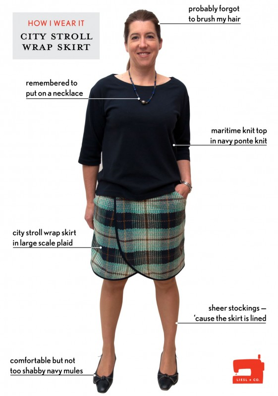 Liesl + Co. City Stroll Wrap Skirt and Maritime Knit Top
