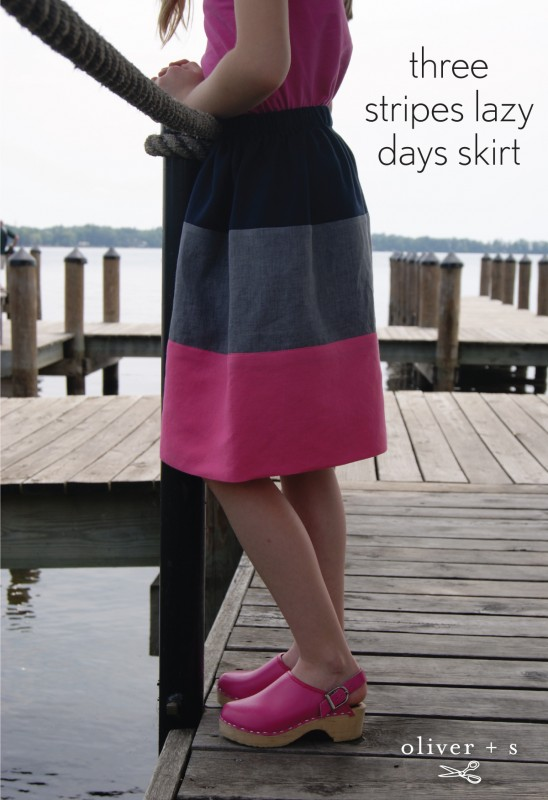 Three stripes Oliver + S Lazy Days Skirt