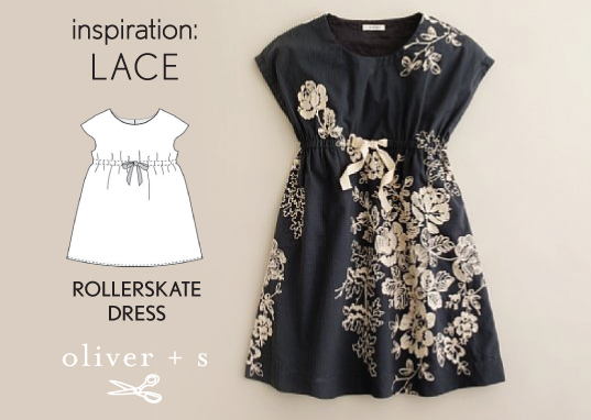 Lace applique on an Oliver + S Rollerskate Dress