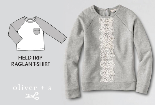 Strip of lace down the center of an Oliver + S Field Trip Raglan T-shirt