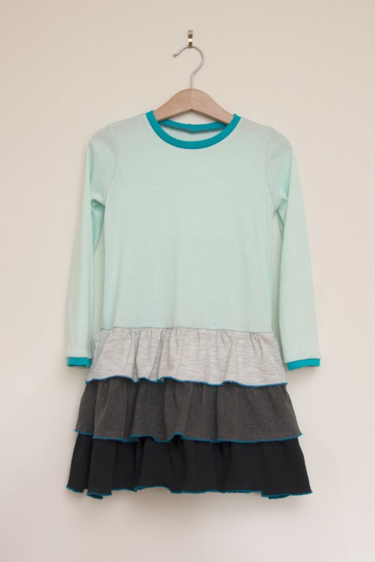 Oliver + S School Bus T-shirt transformed into a ruffled skirt dress