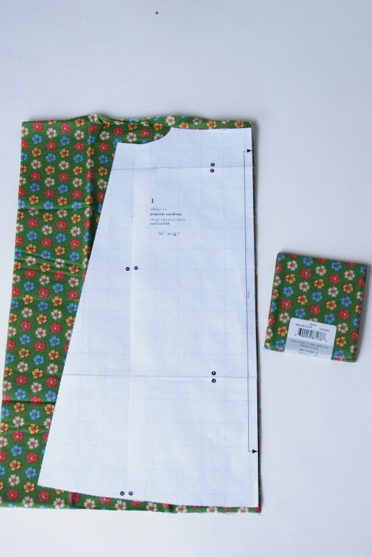 Size 2 Oliver + S Popover Sundress pattern piece on a fat quarter