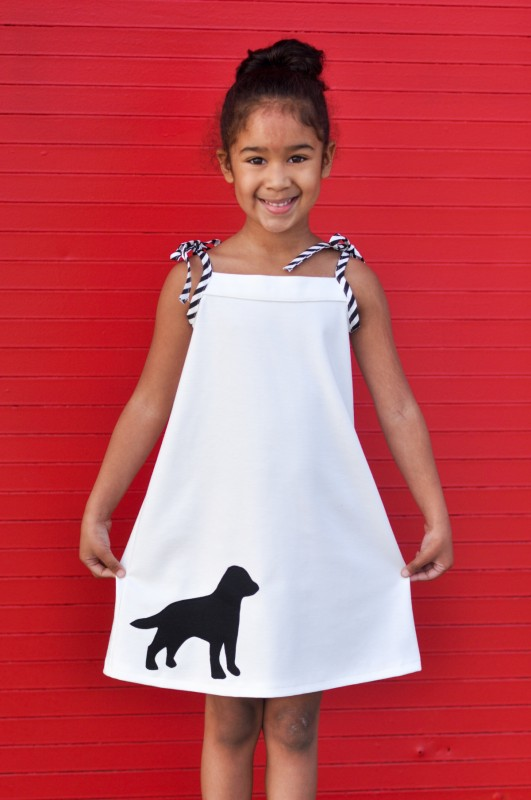 Oliver + S Popover Sundress with dog applique