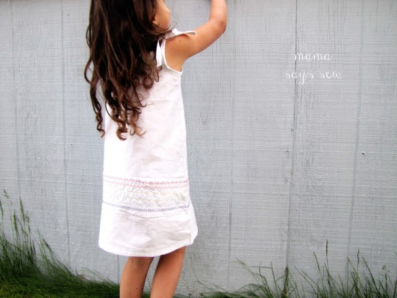 Oliver + S Popover Sundress with colored decorative stitching