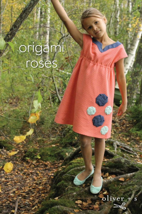 Oliver + S Roller Skate Dress embellished with origami roses