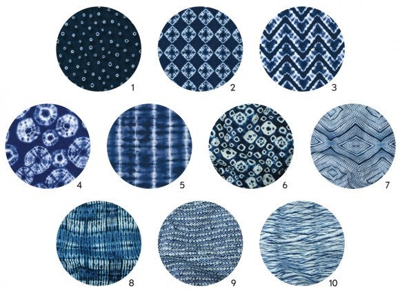 Shibori fabric swatches
