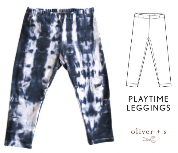 Oliver + S Playtime Leggings in shibori dyed fabric