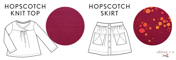 Oliver + S Hopscotch Knit Top + Skirt in Handcrafted fabrics