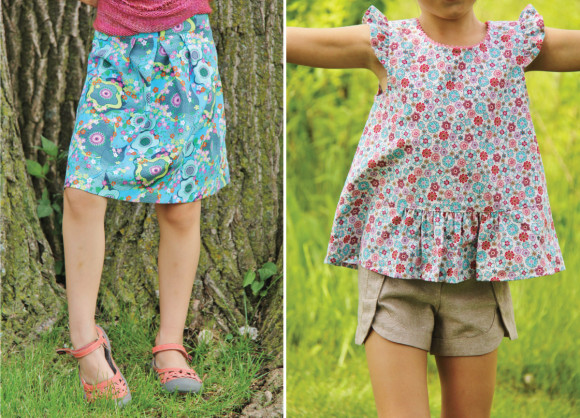 Oliver + S Butterfly Skirt + Blouse and Class Picnic Shorts