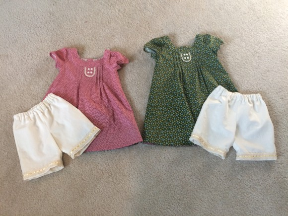 Oliver + S Family Reunion Dresses and Sunny Day Shorts turned into bloomers