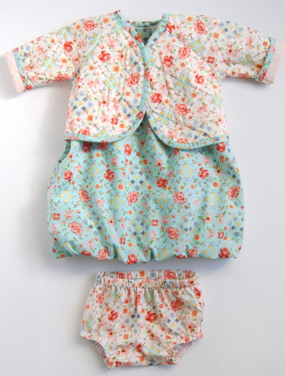 Oliver + S Lullaby Layette jacket, Bubble Dress and Tea Party bloomers in Woodland Clearing fabrics