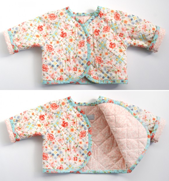 Oliver + S Lullaby Layette jacket in Woodland Clearing fabrics