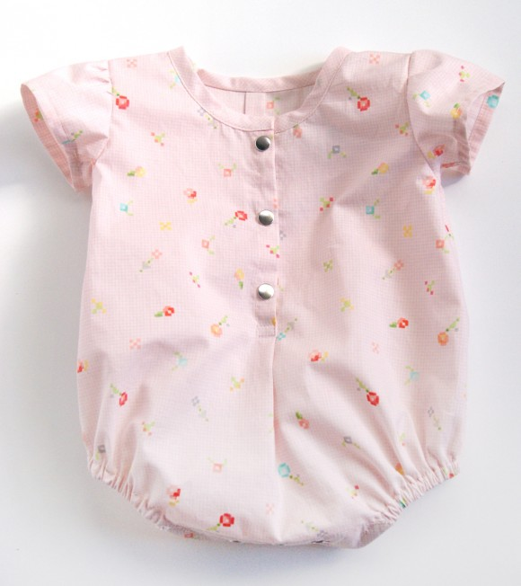 Oliver + S Lullaby Layette bodysuit in Woodland Clearing fabric