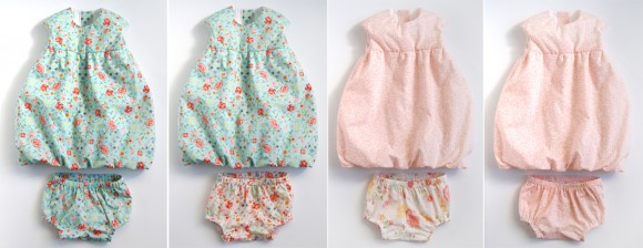 Oliver + S Bubble Dresses and Tea Party bloomers in Woodland Clearing fabrics