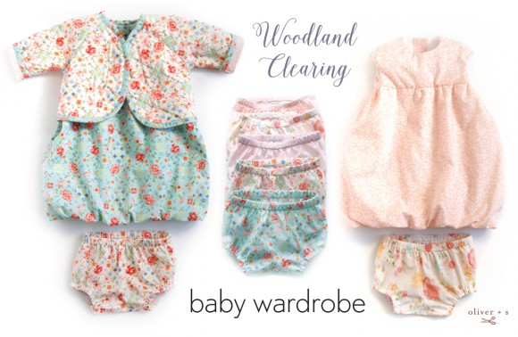 Oliver + S baby clothes made out of Woodland Clearing fabrics