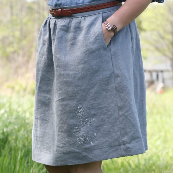 Liesl + Co. Everyday Skirt with hand embroidery